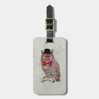 Cool funny trendy colourful watercolours owl bag tag
