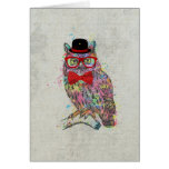 Cool funny trendy colourful watercolours owl greeting cards