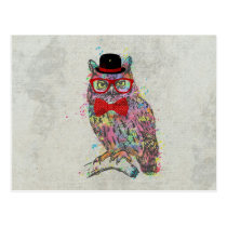 Cool funny trendy colourful watercolours owl postcard