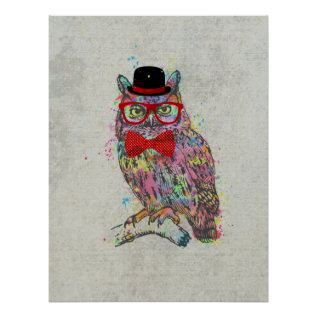 Cool Funny Trendy Colourful Watercolours Owl Poster at Zazzle