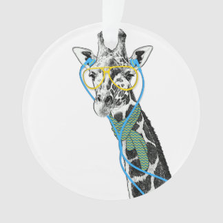 Cool funny trendy giraffe with glasses, earphones ornament