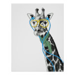 Cool funny trendy giraffe with glasses, earphones print