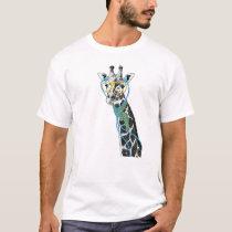 Cool funny trendy giraffe with glasses, earphones T-Shirt