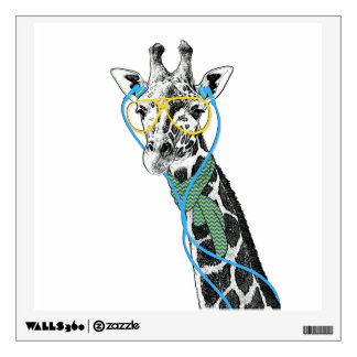 Cool funny trendy giraffe with glasses, earphones wall sticker