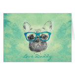 Cool  funny trendy vintage French bulldog  puppy Card