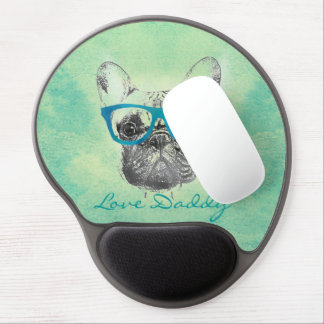 Cool  funny trendy vintage French bulldog  puppy Gel Mouse Pad