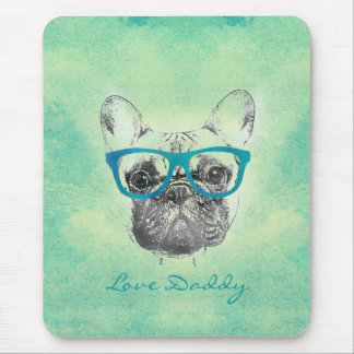 Cool  funny trendy vintage French bulldog  puppy Mouse Pad