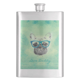 Cool  funny trendy vintage French bulldog  puppy Hip Flasks