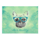 Cool  funny trendy vintage French bulldog  puppy Postcard