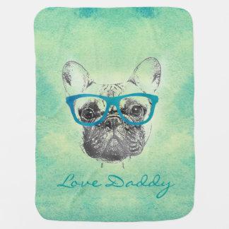 Cool  funny trendy vintage French bulldog  puppy Stroller Blanket