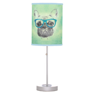 Cool  funny trendy vintage French bulldog  puppy Table Lamp