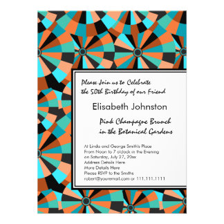 Cool Futurist Circles in Orange and Aqua Personalized Announcement