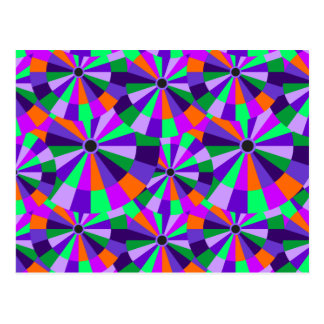 Cool Futurist Circles in Orange and Purple Postcard