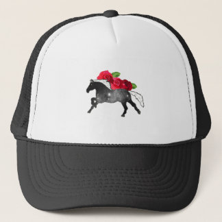 Cool Galazy Horse Black + White Nebula with Roses Trucker Hat