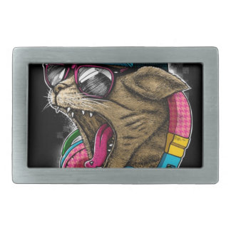 cool gangster rapping cat. belt buckle