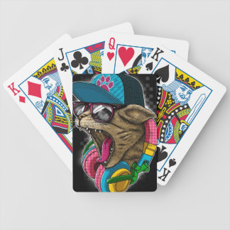 cool gangster rapping cat. bicycle playing cards