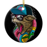 cool gangster rapping cat. ceramic ornament