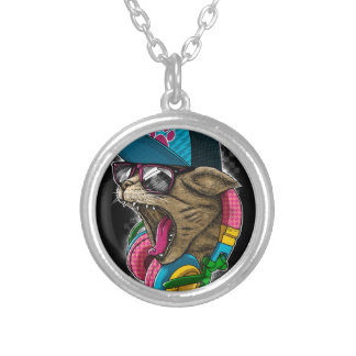 cool gangster rapping cat. silver plated necklace