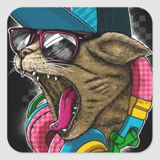 cool gangster rapping cat. square sticker