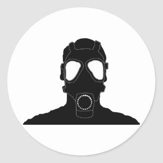 cool gas mask classic round sticker