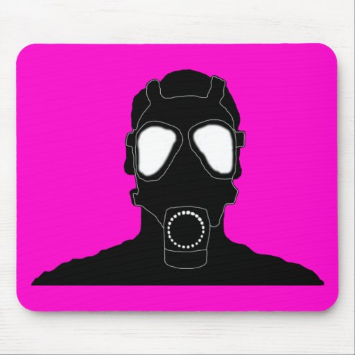 cool gas mask pink mouse pad