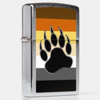 Cool Gay Bears Pride Flag Bear Paw Zippo Lighter