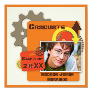 Cool Gears Graduation Photo Card