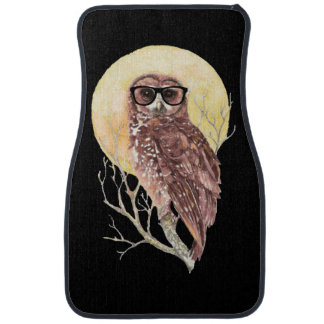 Cool Geek Owl in Glasses with Moon & Tree Humor Car Mat