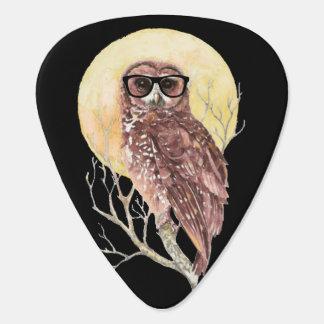 Cool Geek Owl in Glasses with Moon & Tree Humor Pick