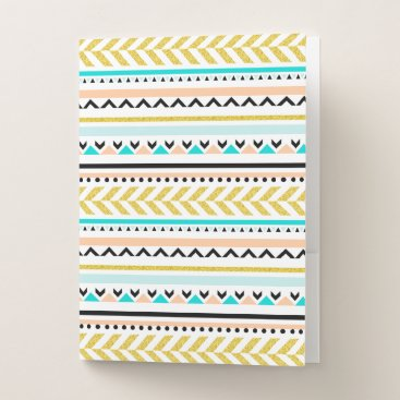 Aztec Themed Cool Geometric Aztec Inspired Pattern Pocket Folder