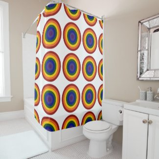 Cool Geometric Rainbow Bullseyes Shower Curtain