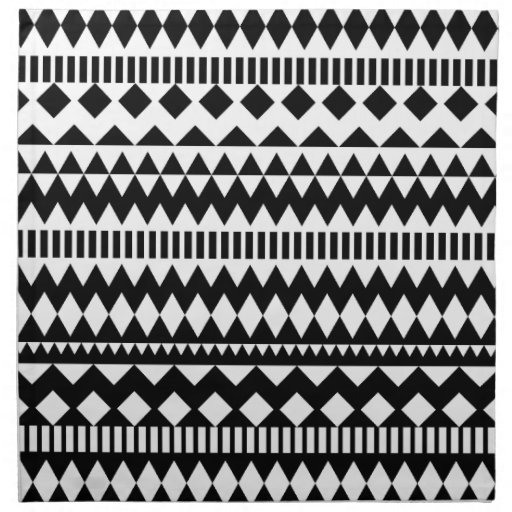 cool geometry black white aztec tribal pattern napkin    Black And White Aztec Pattern Background