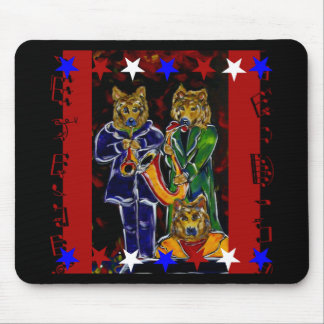 Cool German Shepherd Jazz Band Mouse Pad
