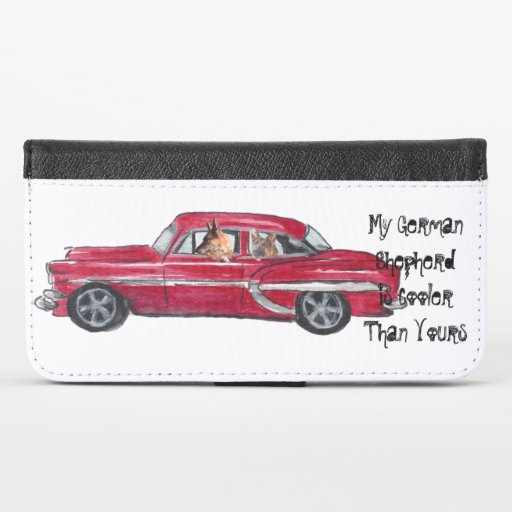 Cool German Shepherds in Muscle Car iPhone Wallet