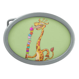 Cool Giraffe Eating Ice Cream Belt Buckle