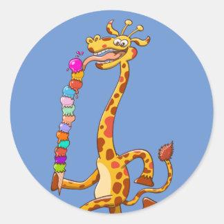 Cool Giraffe Eating Ice Cream Classic Round Sticker