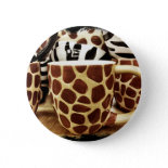Cool Giraffe Pattern and Zebra Stripes Coffee Mugs Pinback Buttons