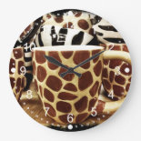 Cool Giraffe Pattern and Zebra Stripes Coffee Mugs Clock