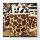 Cool Giraffe Pattern and Zebra Stripes Coffee Mugs Wall Clock