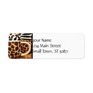 Cool Giraffe Pattern and Zebra Stripes Coffee Mugs Label