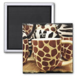Cool Giraffe Pattern and Zebra Stripes Coffee Mugs Fridge Magnet