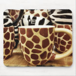 Cool Giraffe Pattern and Zebra Stripes Coffee Mugs Mouse Pad