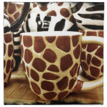 Cool Giraffe Pattern and Zebra Stripes Coffee Mugs Napkins