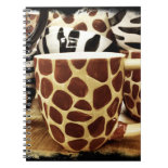 Cool Giraffe Pattern and Zebra Stripes Coffee Mugs Spiral Note Book