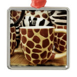 Cool Giraffe Pattern and Zebra Stripes Coffee Mugs Ornaments