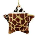 Cool Giraffe Pattern and Zebra Stripes Coffee Mugs Christmas Ornament