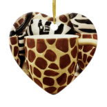 Cool Giraffe Pattern and Zebra Stripes Coffee Mugs Ornament