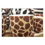 Cool Giraffe Pattern and Zebra Stripes Coffee Mugs Place Mat