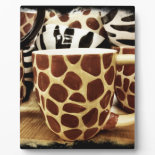 Cool Giraffe Pattern and Zebra Stripes Coffee Mugs Plaques