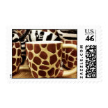 Cool Giraffe Pattern and Zebra Stripes Coffee Mugs Postage Stamp